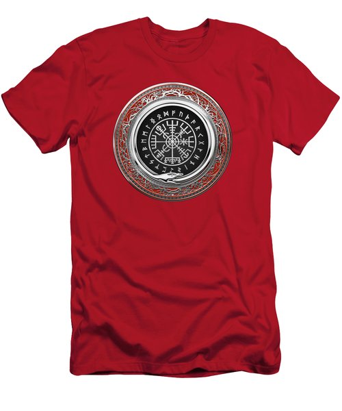 Vegvisir - A Silver Magic Viking Runic Compass On Red Leather  Men's T-Shirt (Athletic Fit)