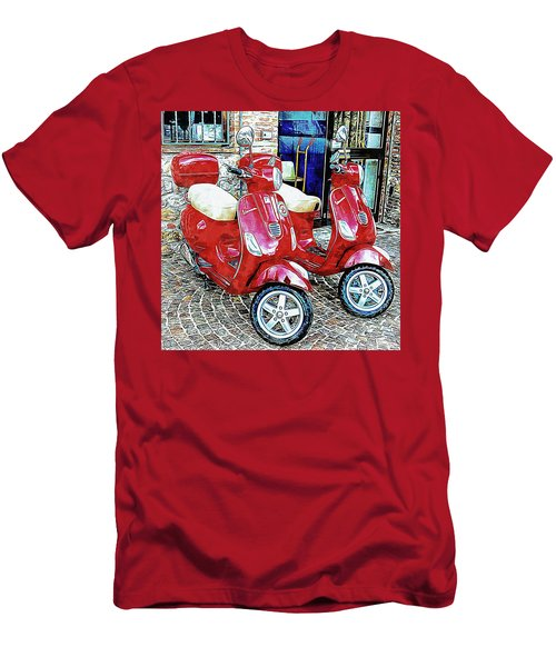 Vespa Twins Red Men's T-Shirt (Athletic Fit)