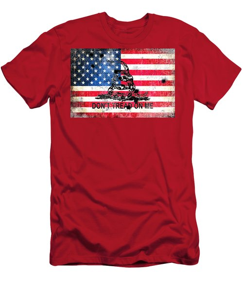 Viper N Bullet Holes On Old Glory Men's T-Shirt (Slim Fit) by M L C