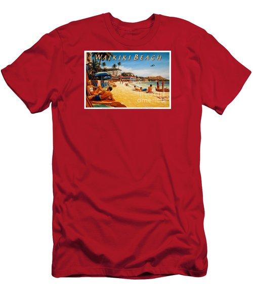 Waikiki Beach Men's T-Shirt (Slim Fit) by Nostalgic Prints
