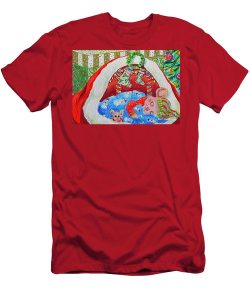 Waiting For Santa Men's T-Shirt (Slim Fit) by Li Newton