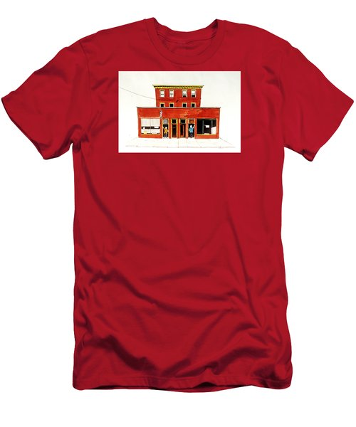 Men's T-Shirt (Slim Fit) featuring the painting Washington Street Barbers by William Renzulli