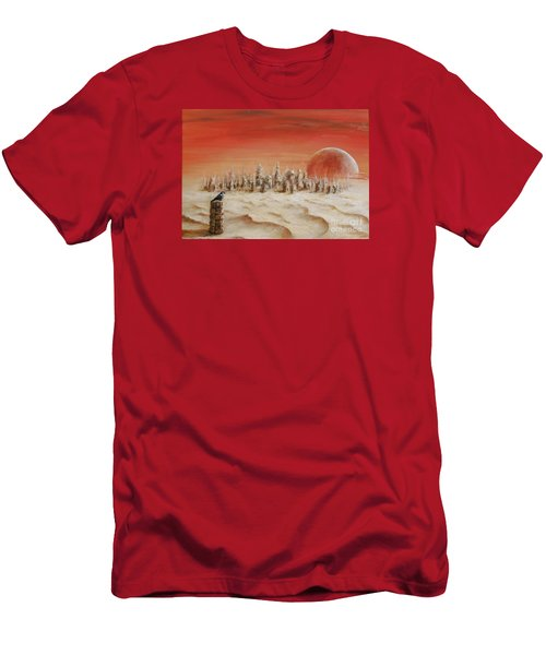 Men's T-Shirt (Slim Fit) featuring the painting Watcher by Arturas Slapsys