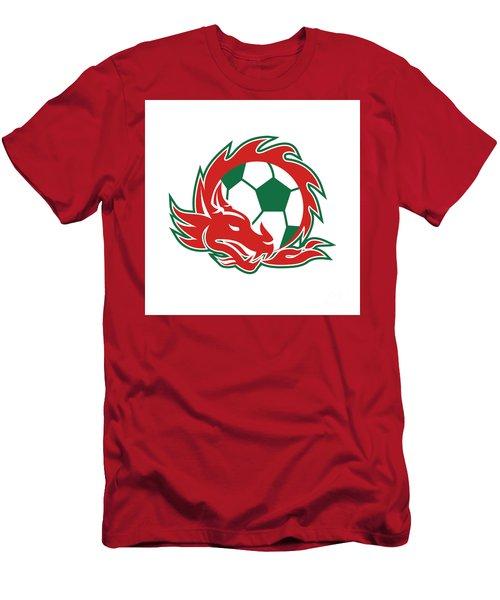 Welsh Dragon Soccer Ball  Men's T-Shirt (Athletic Fit)