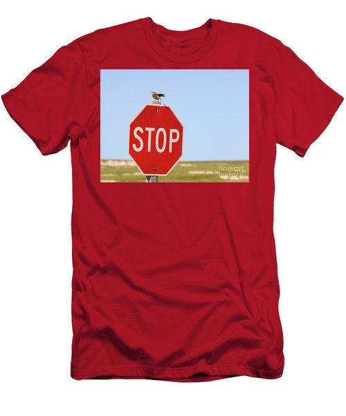 Western Meadowlark Singing On Top Of A Stop Sign Men's T-Shirt (Slim Fit) by Louise Heusinkveld