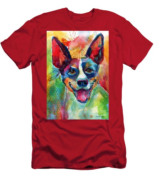Whimsical Rat Terrier Dog Painting Men's T-Shirt (Athletic Fit)