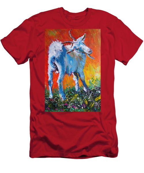 White Goat Painting - Scratching My Back Men's T-Shirt (Athletic Fit)