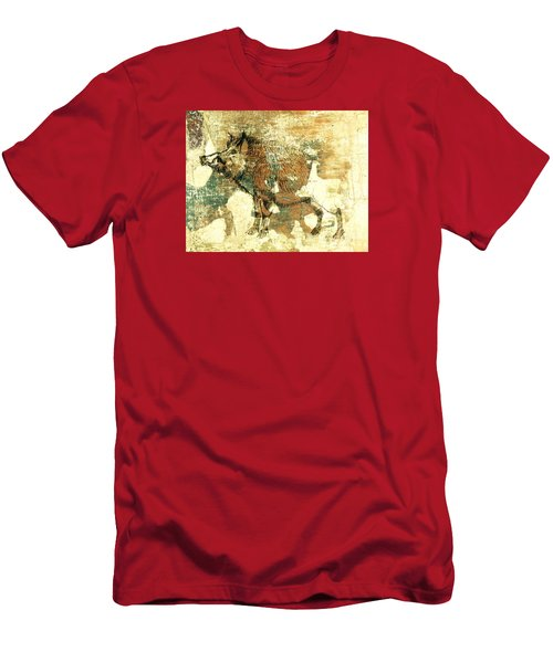 Men's T-Shirt (Slim Fit) featuring the drawing Wild Boar Cave Painting 1 by Larry Campbell