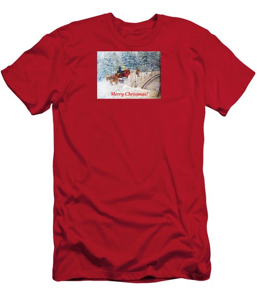 Winter Carriage In Central Park Christmas Card Men's T-Shirt (Slim Fit) by Loretta Luglio