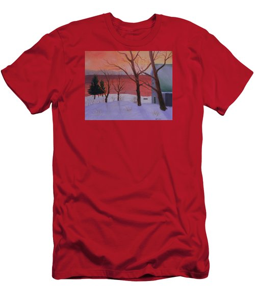 Winter Ocean Sunrise Men's T-Shirt (Athletic Fit)