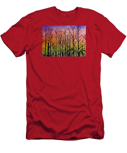 Men's T-Shirt (Slim Fit) featuring the painting Winter Trees At Sunset by Ellen Canfield