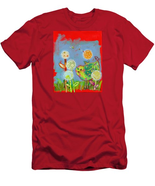 Wishful Thinking Birdy Men's T-Shirt (Slim Fit) by Shelley Overton