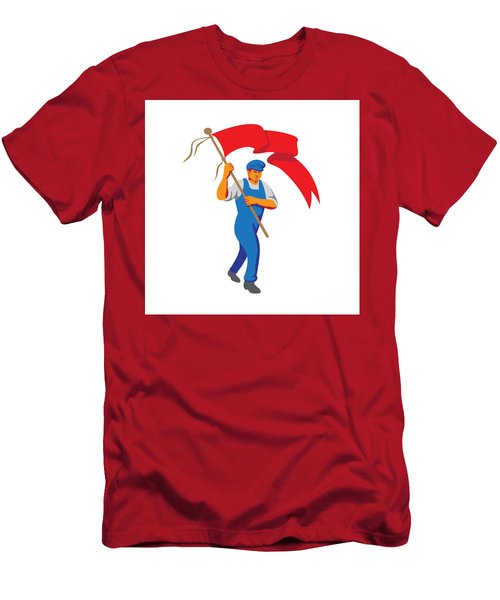 Worker Marching Flag Bearer Wpa Men's T-Shirt (Athletic Fit)