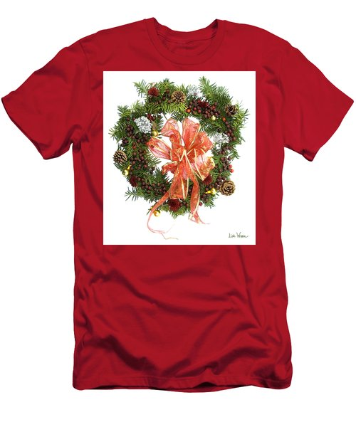 Wreath With Bow Men's T-Shirt (Slim Fit) by Lise Winne