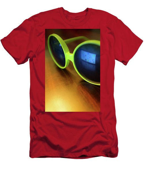 Men's T-Shirt (Slim Fit) featuring the photograph Yellow Goggles With Reflection by Carlos Caetano