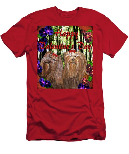 Yorkie Valentine Card Men's T-Shirt (Athletic Fit)