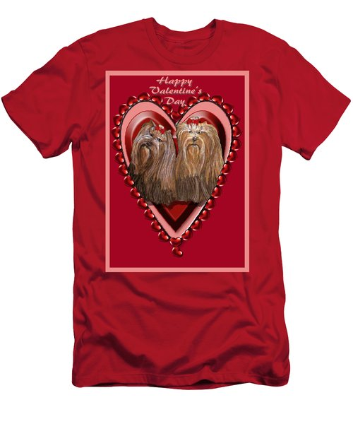 Yorkie Valentine Hearts Men's T-Shirt (Athletic Fit)