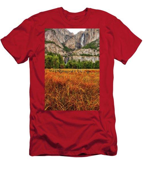 Yosemite Falls Autumn Colors Men's T-Shirt (Athletic Fit)