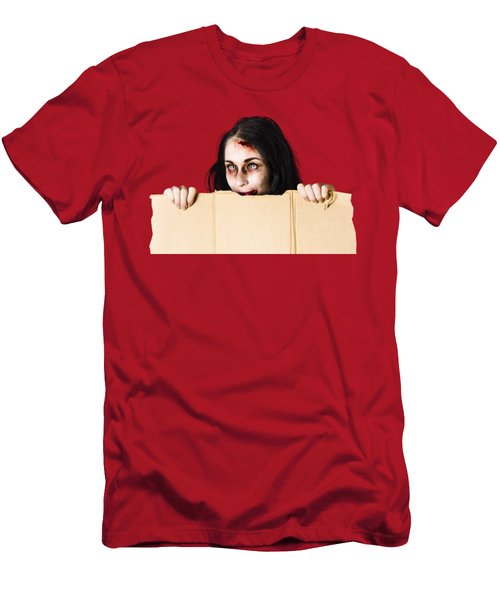 Zombie Woman Peering Out Cardboard Box Men's T-Shirt (Slim Fit) by Jorgo Photography - Wall Art Gallery