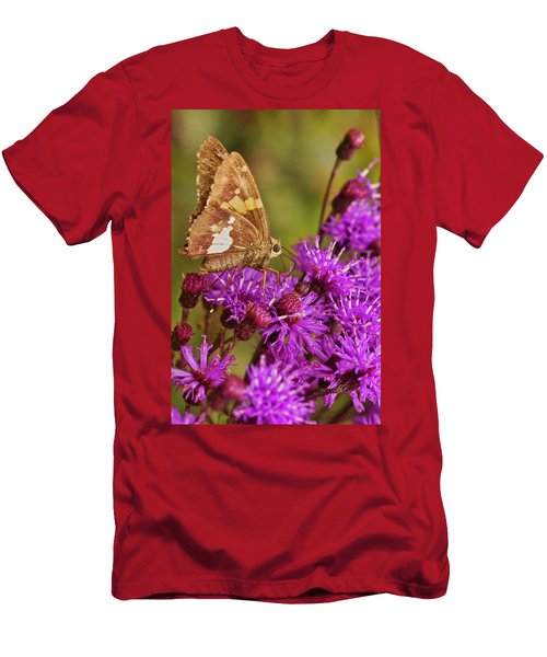 Moth On Purple Flowers Men's T-Shirt (Athletic Fit)