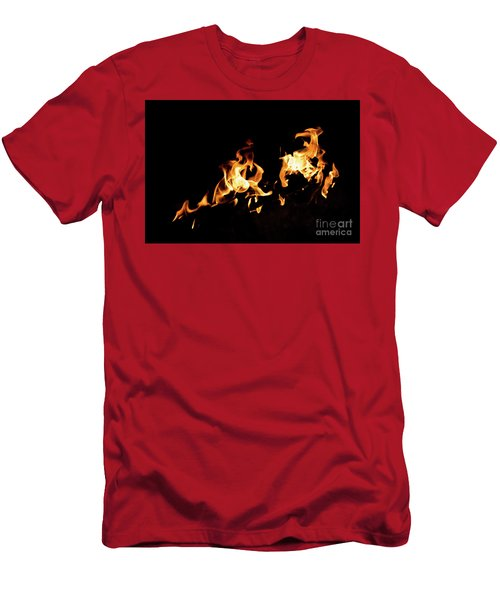 Flames In The Fire Of A Red And Yellow Barbecue. Men's T-Shirt (Athletic Fit)