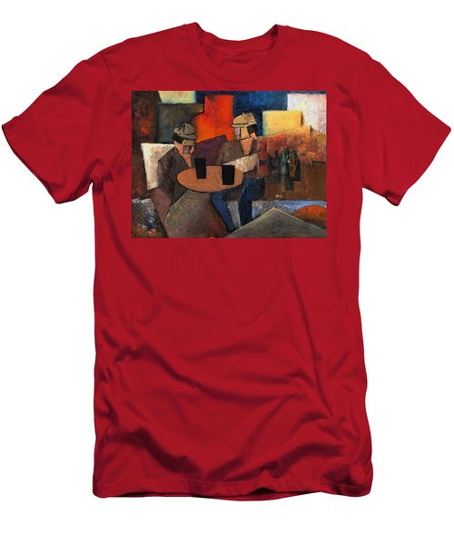 Men's T-Shirt (Athletic Fit) featuring the painting 7073 Two Black Solutions by Val Byrne