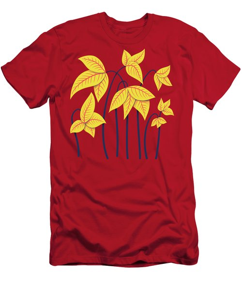 Abstract Flowers Geometric Art In Vibrant Coral And Yellow  Men's T-Shirt (Athletic Fit)