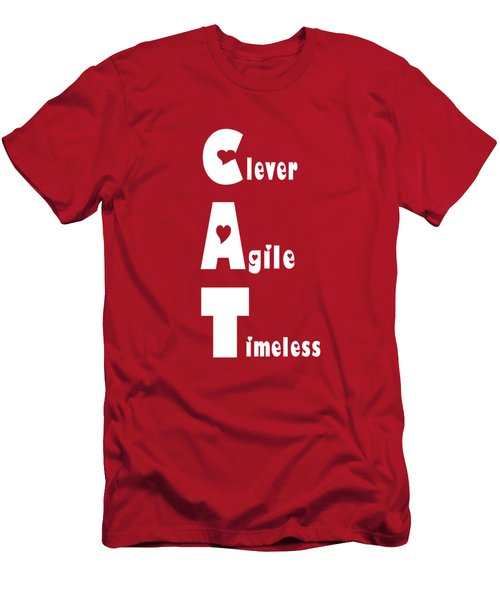 Cat With White Words Men's T-Shirt (Athletic Fit)