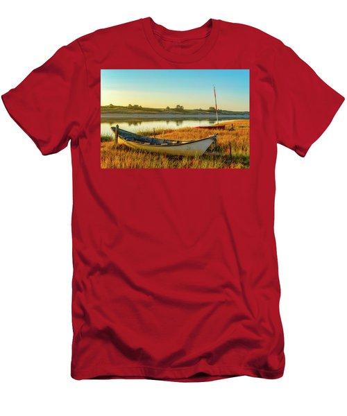 Boats In The Marsh Grass, Ogunquit River Men's T-Shirt (Athletic Fit)