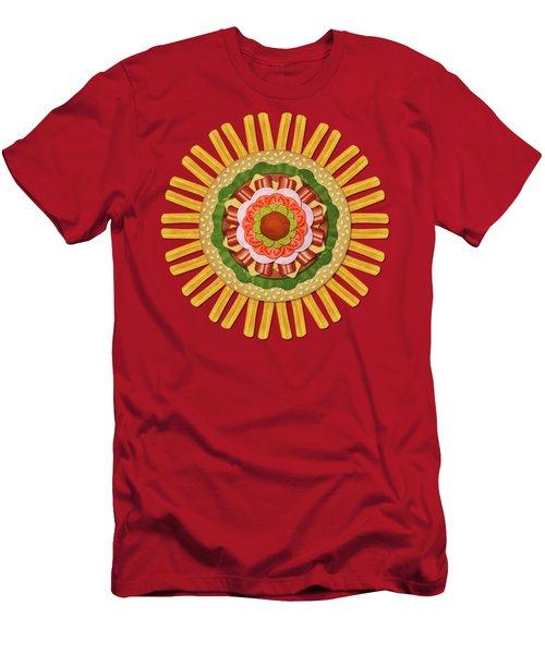 Bacon Cheeseburger With Fries Mandala Men's T-Shirt (Athletic Fit)