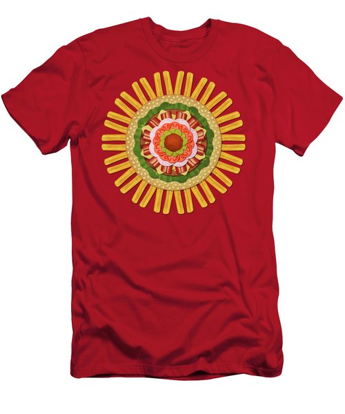 Bacon Cheeseburger With Fries Mandala Men's T-Shirt (Athletic Fit)