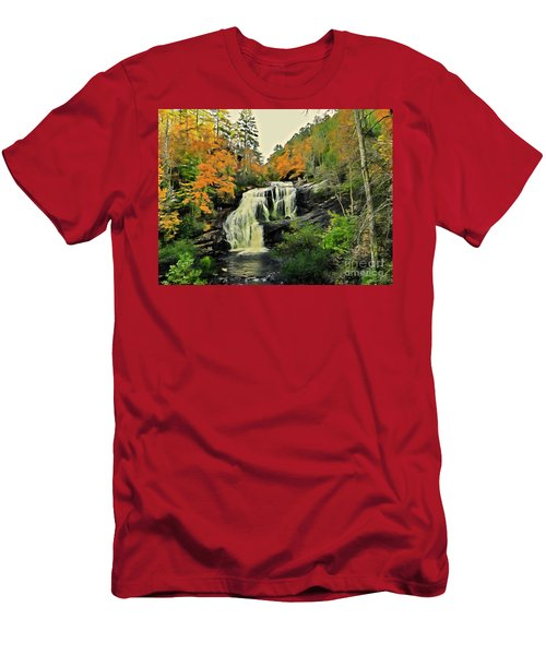 Men's T-Shirt (Athletic Fit) featuring the photograph Bald River Falls In Autumn  by Rachel Hannah