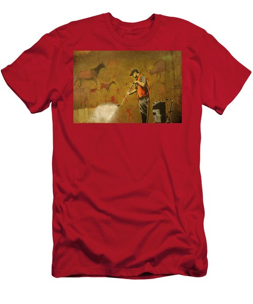 Men's T-Shirt (Athletic Fit) featuring the photograph Banksy's Cave Painting Cleaner by Gigi Ebert