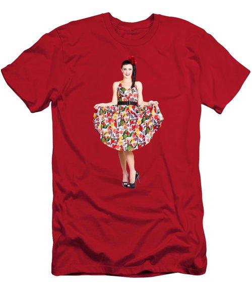 Beautiful Dancing Woman In Retro Red Dress Men's T-Shirt (Athletic Fit)