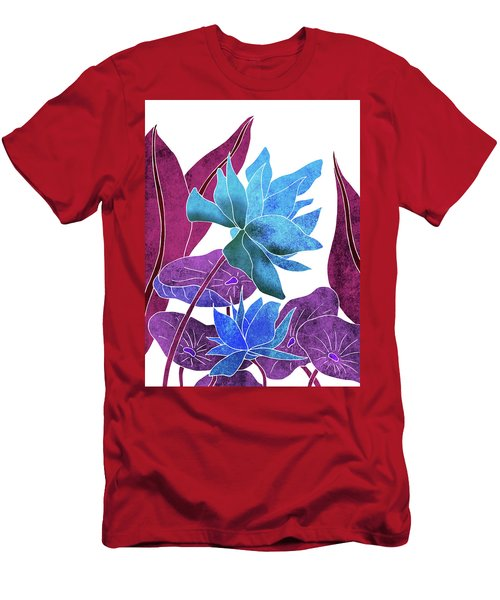 Blue Lotus Flower - Botanical, Floral, Tropical Art - Modern, Minimal Decor - Blue, Purple, Indigo Men's T-Shirt (Athletic Fit)