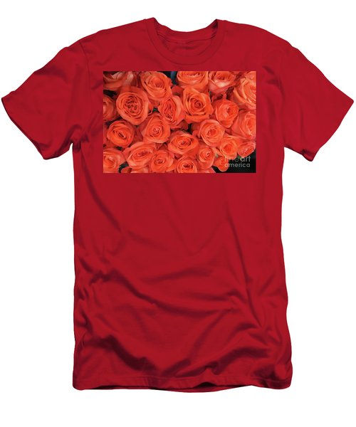 Bouquet Of The  Living Coral Roses Men's T-Shirt (Athletic Fit)