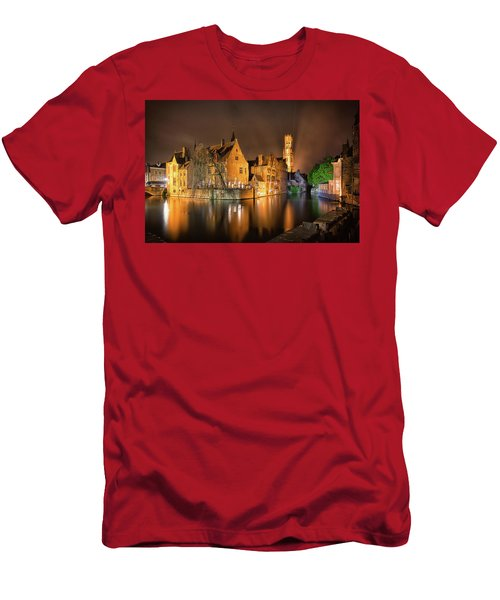 Brugge Belgium Belfry Night Men's T-Shirt (Athletic Fit)