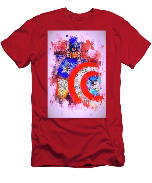Men's T-Shirt (Athletic Fit) featuring the mixed media Captain America Watercolor by Al Matra