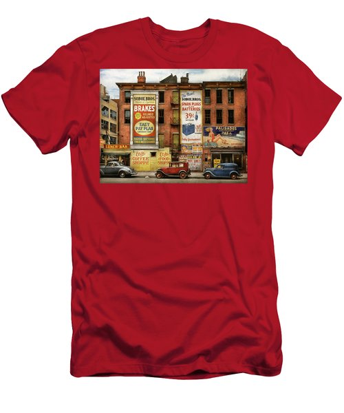 Men's T-Shirt (Athletic Fit) featuring the photograph City - New York Ny - Elite Lunch Bar 1938 by Mike Savad