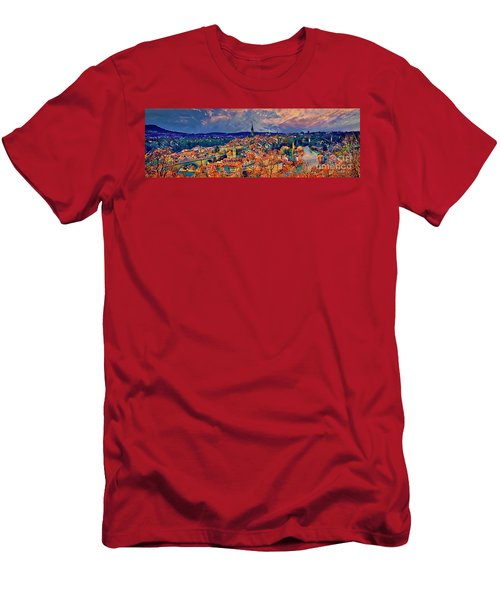 Men's T-Shirt (Athletic Fit) featuring the photograph City Of Bern Riverfront From Rose Garden Switzerland by Tom Jelen