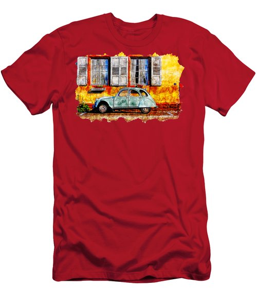 Cityscape Watercolor Drawing  - Vintage Volkswagen Cars Men's T-Shirt (Athletic Fit)