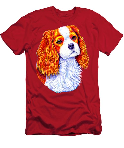 Colorful Cavalier King Charles Spaniel Dog Men's T-Shirt (Athletic Fit)