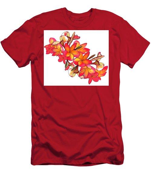 Coloured Frangipani White Bkgd2 Men's T-Shirt (Athletic Fit)