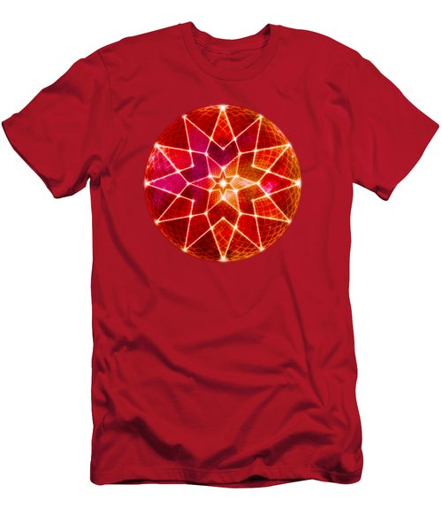 Cosmic Geometric Seed Of Life Crystal Red Lotus Star Mandala Men's T-Shirt (Athletic Fit)
