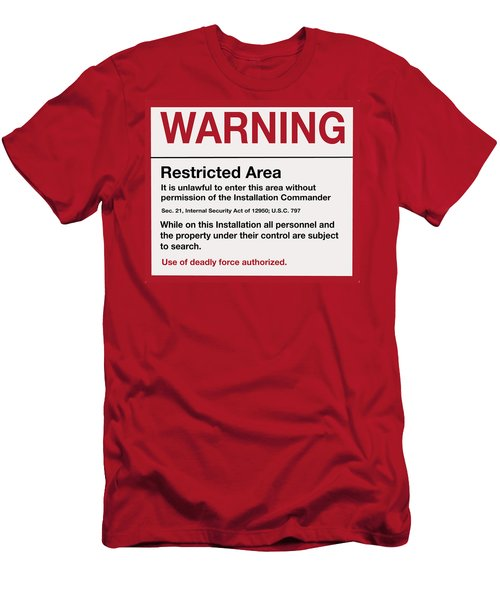 Deadly Force Warning Sign Men's T-Shirt (Athletic Fit)