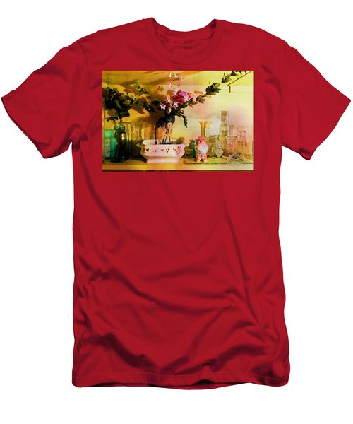 Men's T-Shirt (Athletic Fit) featuring the painting Delicate Flowers by Joan Reese