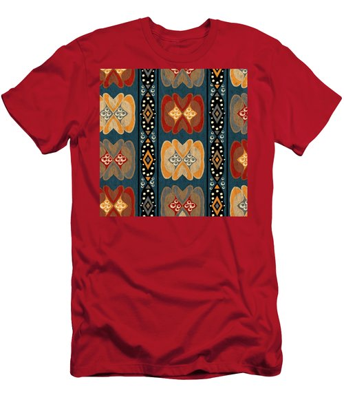 East African Heart And Diamond Stripe Pattern Men's T-Shirt (Athletic Fit)
