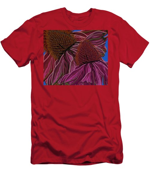Men's T-Shirt (Athletic Fit) featuring the drawing Echinacea Flower Blues by Joan Stratton