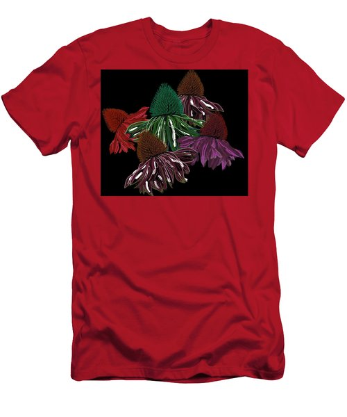 Echinacea Flowers With Black Men's T-Shirt (Athletic Fit)
