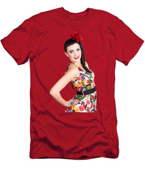 Elegant Latino Dancer Girl Performing Salsa Dance Men's T-Shirt (Athletic Fit)